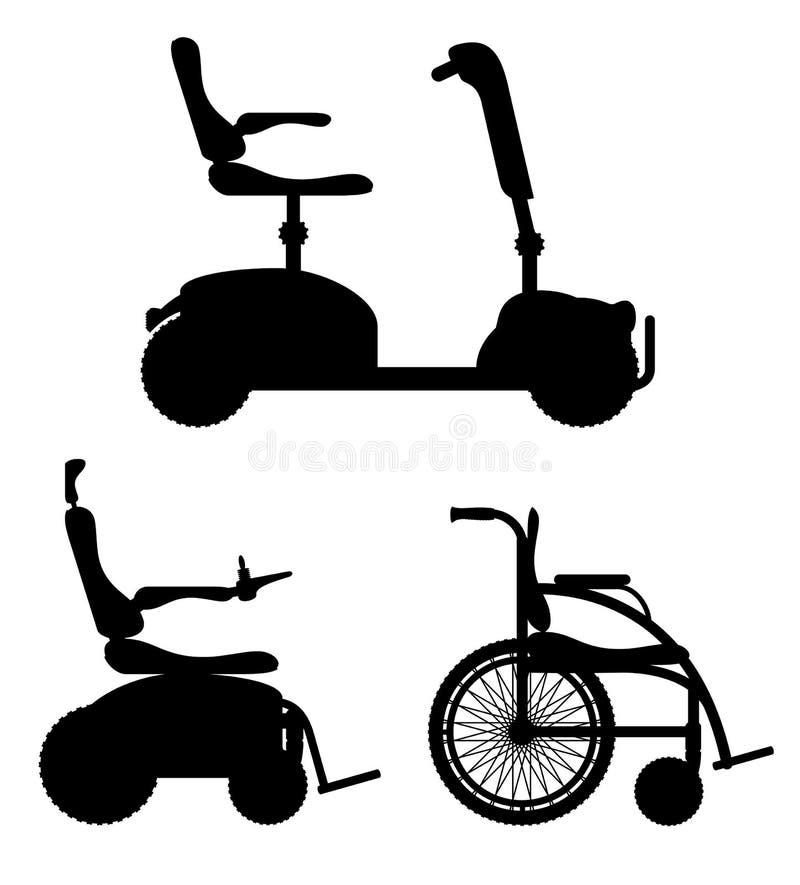 Кресло-коляска для черного люди с ограниченными возможностями запаса силуэта плана иллюстрация вектора