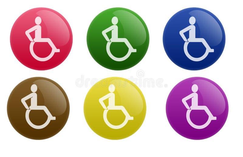 кресло-коляска кнопки лоснистая иллюстрация вектора