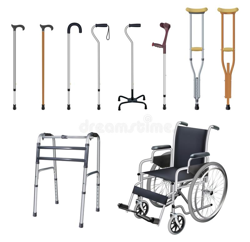 Кресло-коляска, тросточка, костыль, ходоки Комплект специальных медицинских вспомогательных транспортных средствй для людей с иллюстрация штока