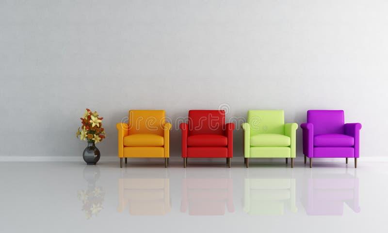 кресло покрасило 4 иллюстрация вектора