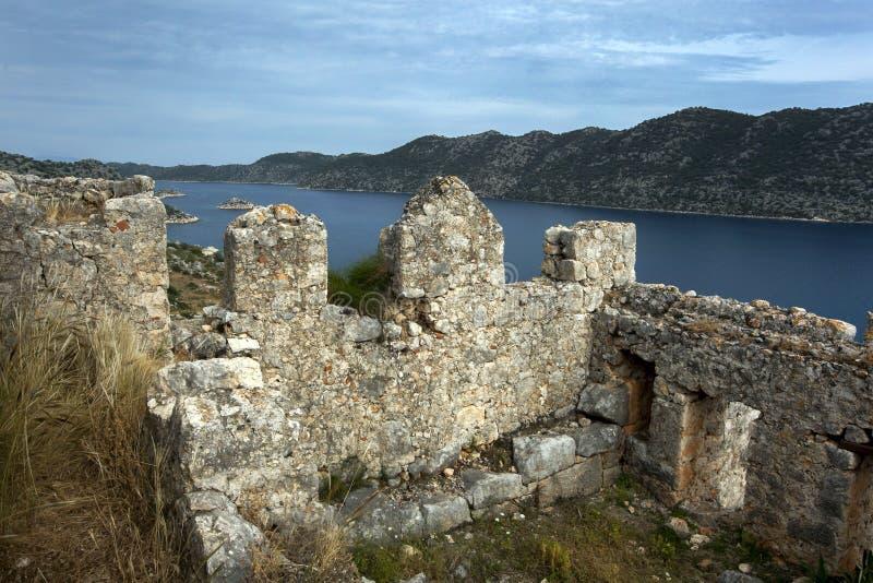 Крестоносная крепость в Симене в Турции стоковые фото
