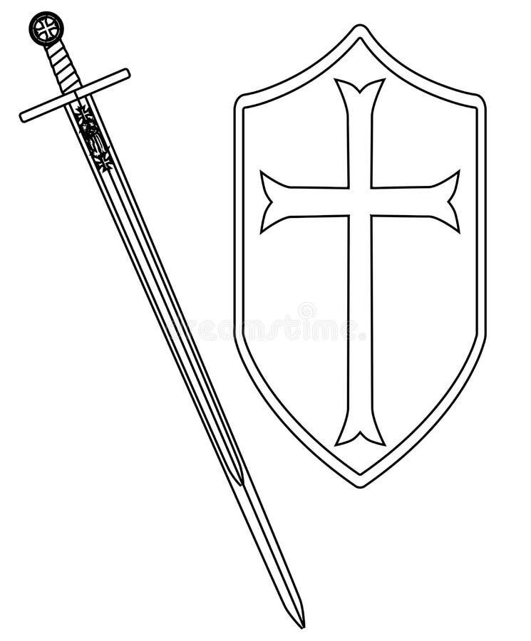 Крестоносцы шпага и чертеж плана экрана на белизне бесплатная иллюстрация