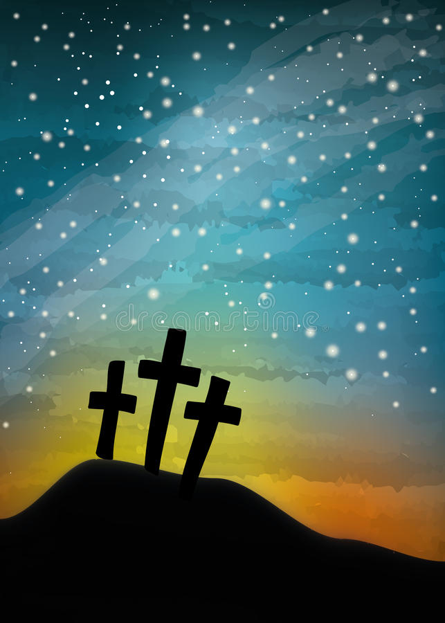 Кресты дерева на ночном небе иллюстрация вектора