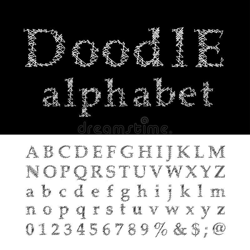 Крест алфавита Doodle иллюстрация вектора