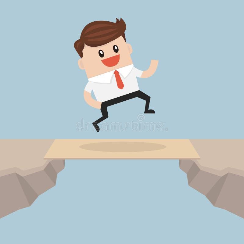 Крест бизнесмена зазор скалы деревянной доской как мост бесплатная иллюстрация