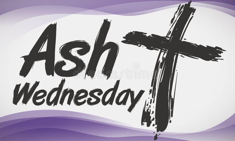 Крест в волнах стиля и пурпура Brushstroke чествуя золу среду, иллюстрацию вектора иллюстрация штока