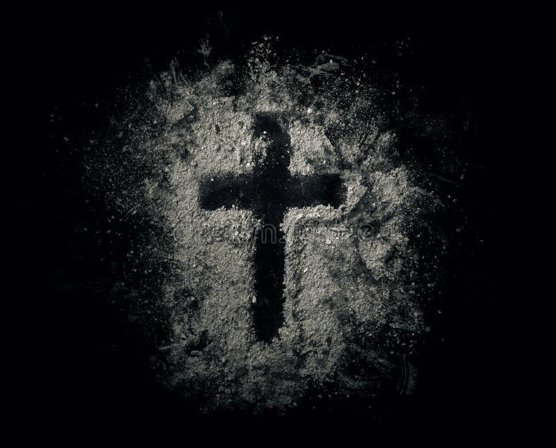 Крест в золах стоковое фото rf