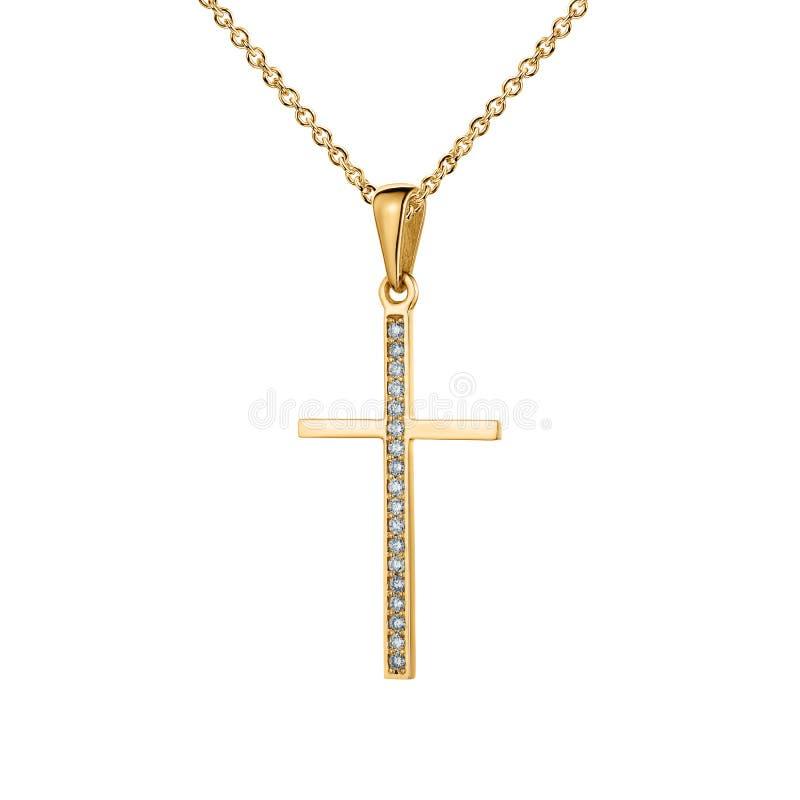 Крест желтого золота, шкентель с диамантами, золотая цепь, изолированная на белизне стоковое изображение