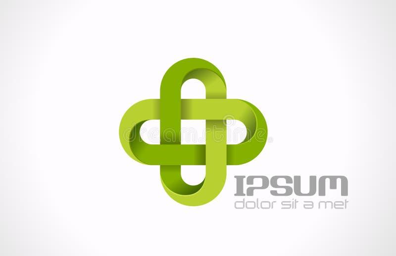 Крест зеленого цвета фармации логотипа. Medicin клиники больницы иллюстрация штока