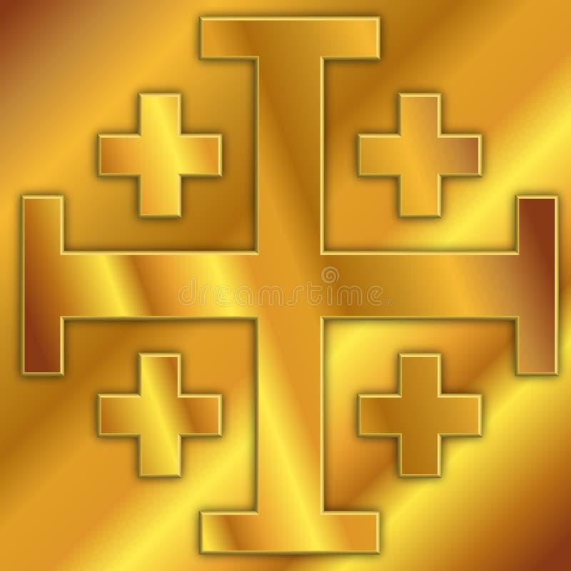 Крест Иерусалима, герба, дизайна векторной графики, иллюстрации иллюстрация вектора