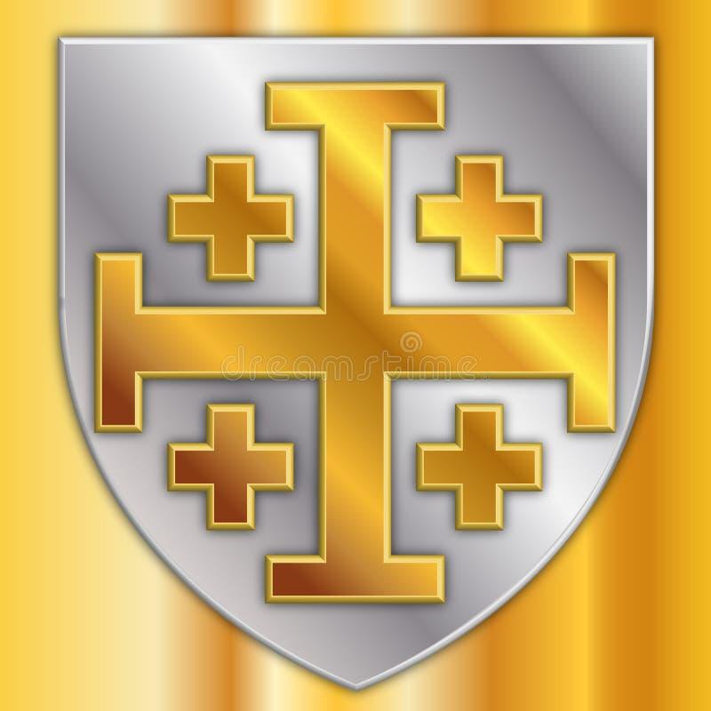 Крест Иерусалима, герба, дизайна векторной графики, иллюстрации иллюстрация штока
