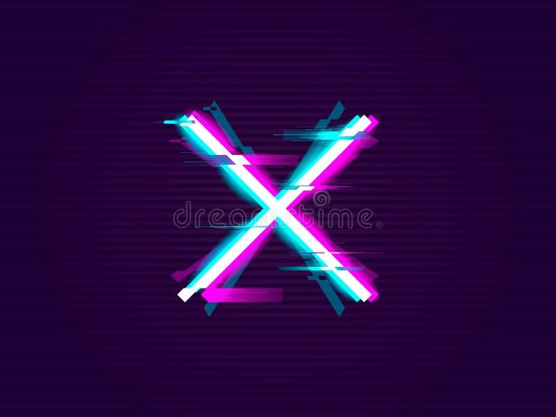 Крест или x Glitched дизайн иллюстрация вектора