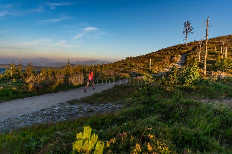 Крест молодой женщины бежать в горах на лете стоковые изображения rf