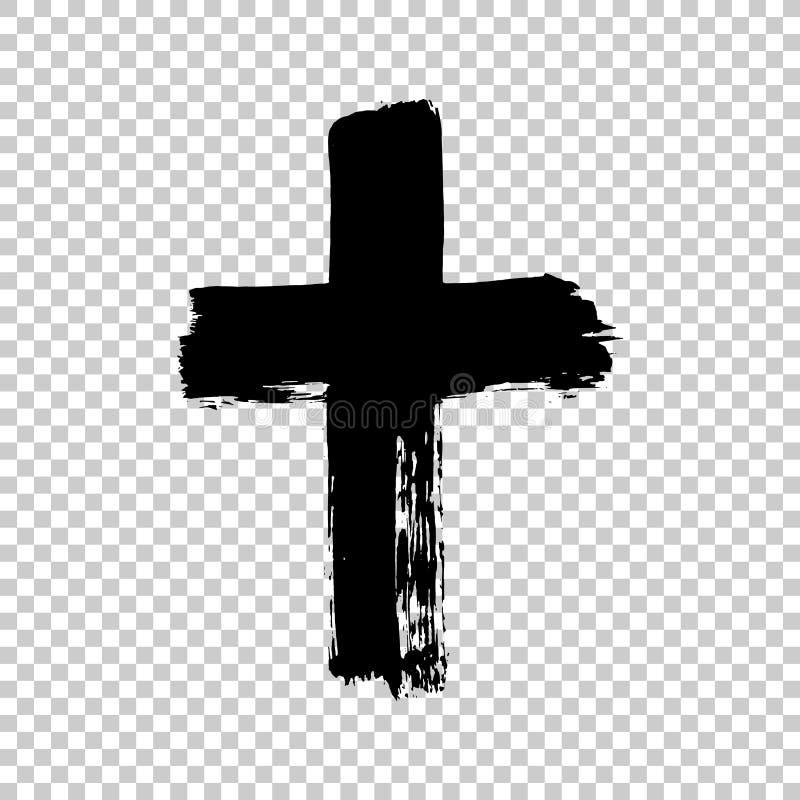Крест нарисованный рукой Крест Grunge Крест сделанный с ходом щетки иллюстрация штока