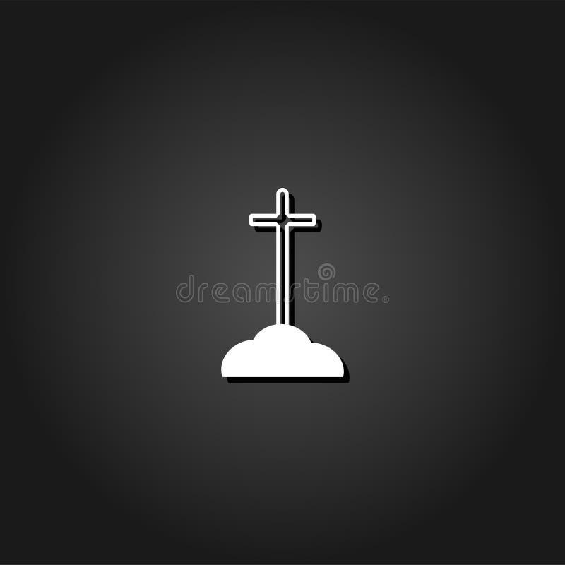 Крест на серьезном значке плоско иллюстрация штока