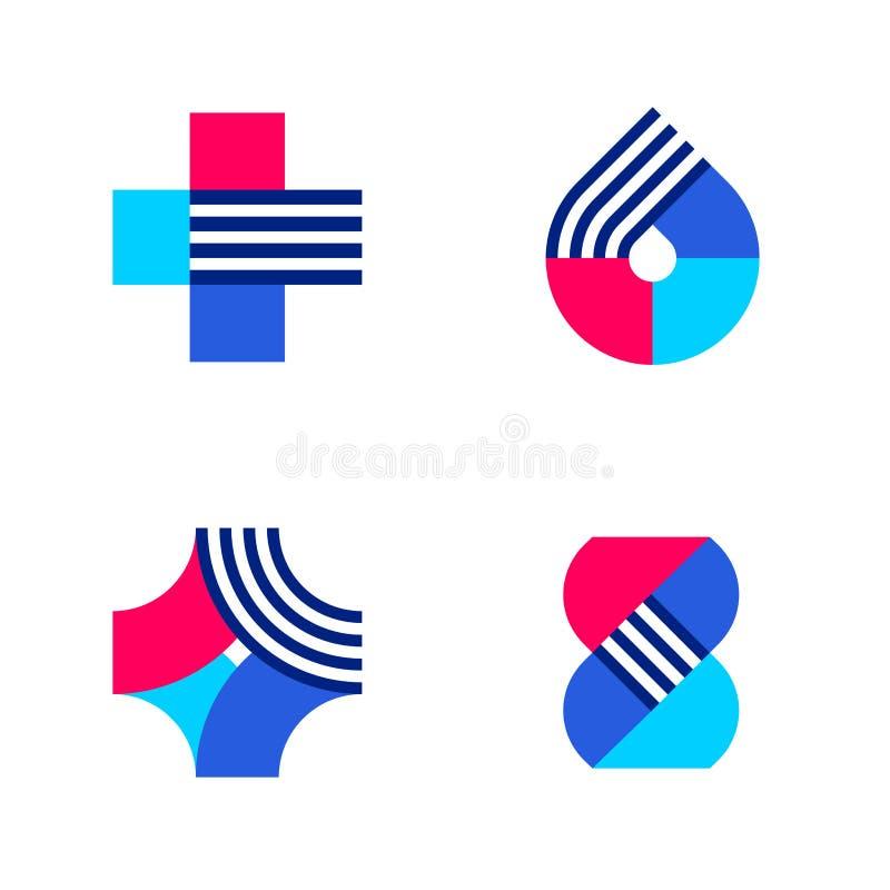 Крест, падение и дна Комплект абстрактного логотипа медицинских или фармации иллюстрация штока