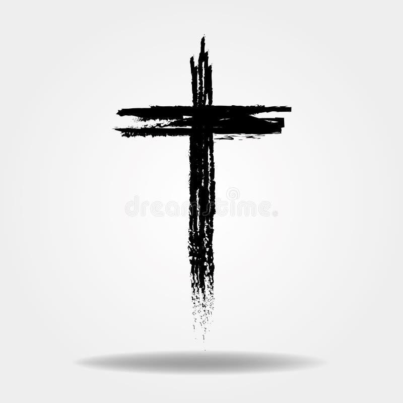 Крест руки вычерченный Крест вектора Крест сделан с щеткой бесплатная иллюстрация