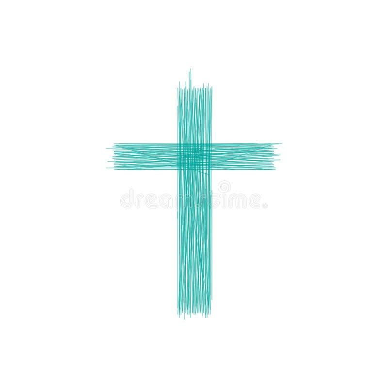 Крест руки вычерченный Крест Grunge Крест сделанный с карандашем Линия крест r иллюстрация вектора