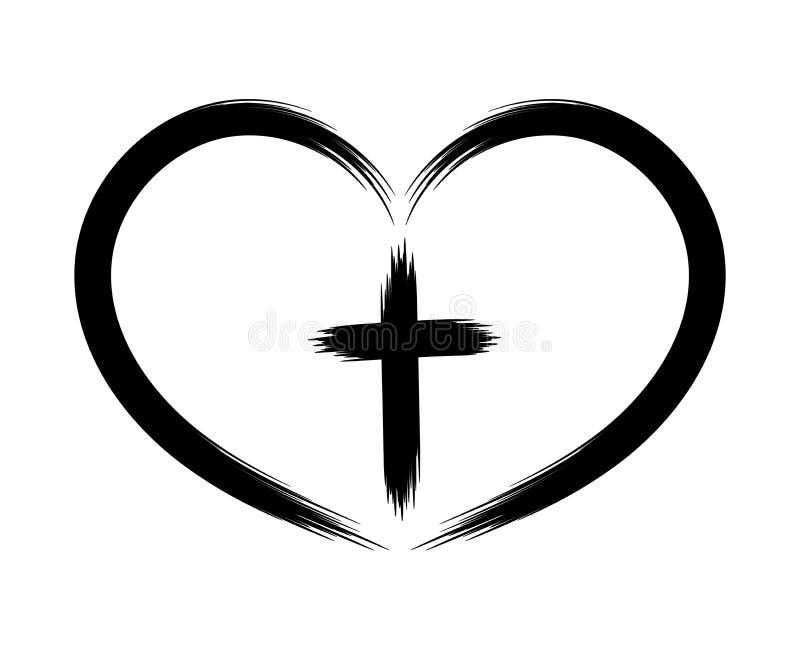 Крест сердца и Кристиана Концепция символизма Покрашенный щеткой зацепляет икону Объект изолирован на белой предпосылке иллюстрация вектора