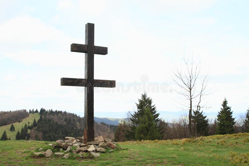 Крест словаков на горе Javornik стоковое фото