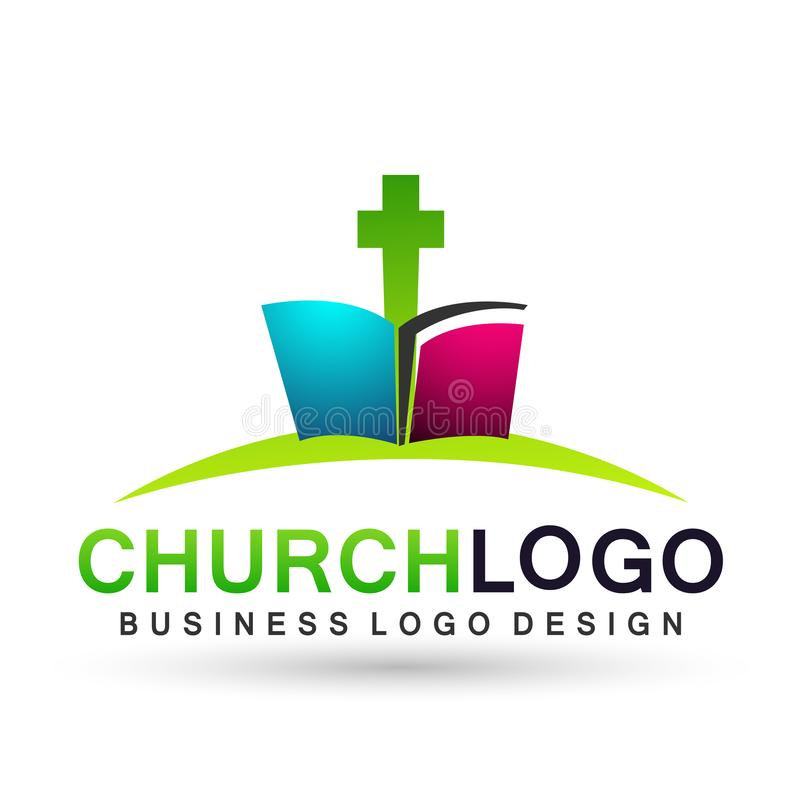 Крест со значком дизайна логотипа любов заботы соединения людей церков библии на белой предпосылке иллюстрация вектора