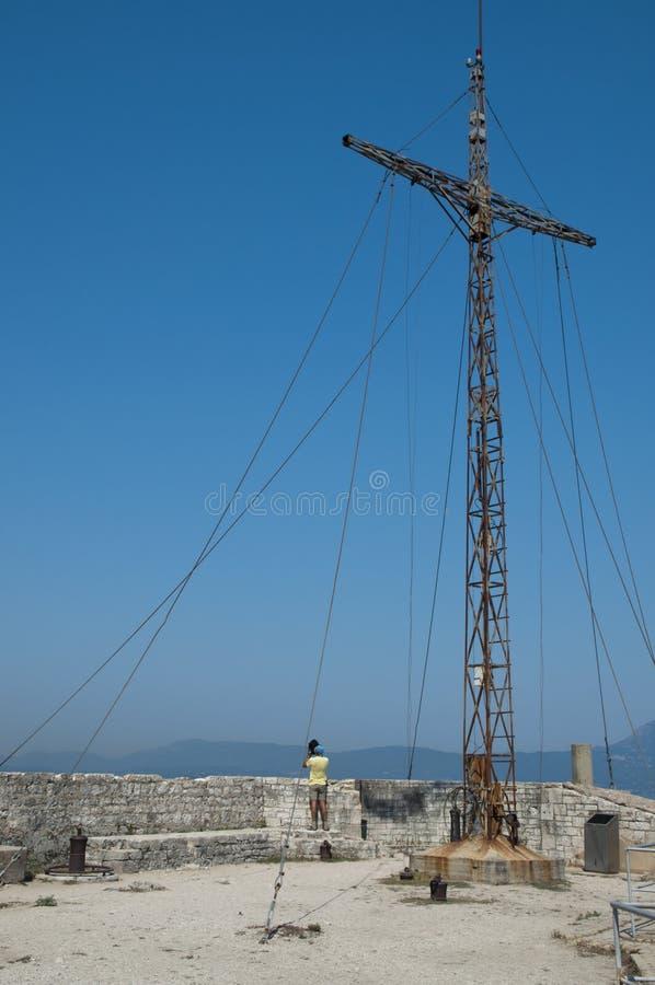 Крест старой крепости Corfu Стоковая Фотография