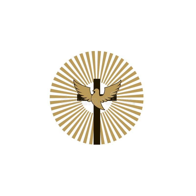 Крест с голубем иллюстрация вектора
