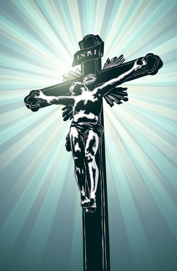 Крест с Иисусом иллюстрация штока