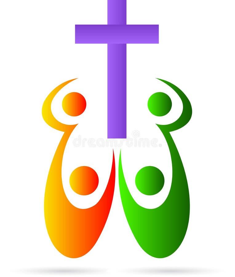 Крест с людьми иллюстрация вектора