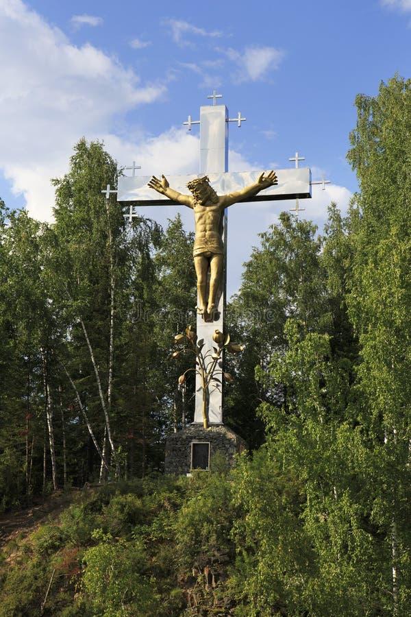 Download Крест с распятием Остров реки Katun Стоковое Изображение - изображение насчитывающей christ, сосенка: 40589129