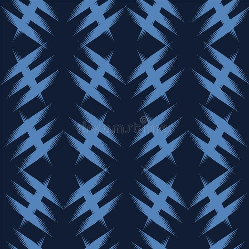 Крест criss современной руки сини индиго геометрической вычерченный Повторение абстрактной предпосылки Орнаментальное monochrome  иллюстрация вектора