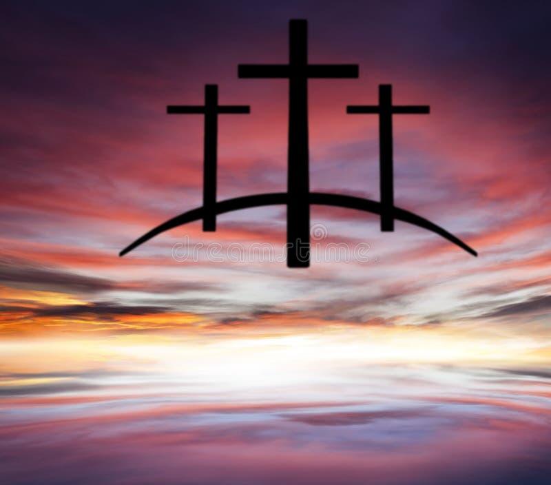 Крест ` s бога Свет в темном небе вероисповедание jesus рая предпосылки стоковая фотография rf
