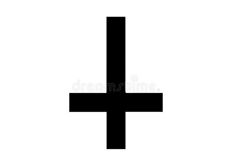 Крест St Peter или креста Petrine перевернутый латинский крест традиционно используемый как христианский символ значок satanist иллюстрация вектора
