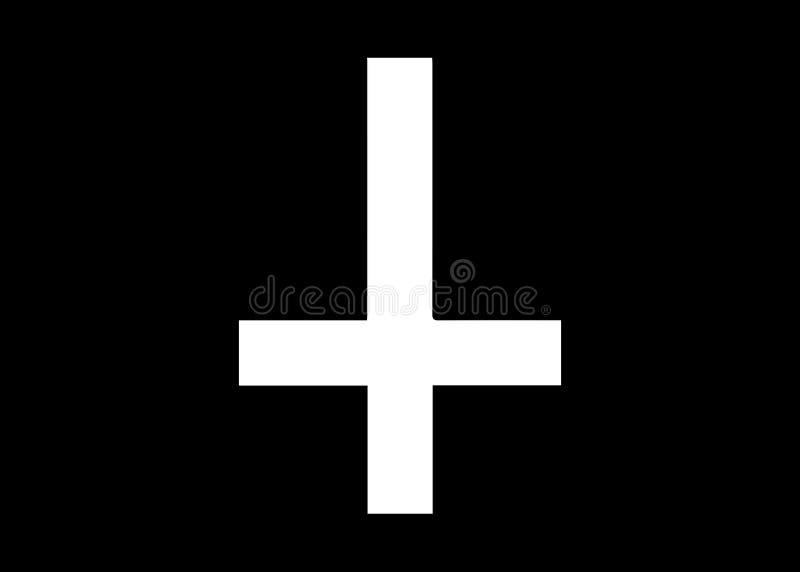 Крест St Peter или креста Petrine перевернутый латинский крест традиционно используемый как христианский символ, но в последнее в иллюстрация штока