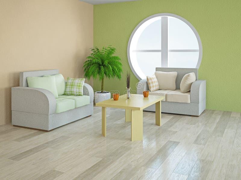 Кресла с зелеными и оранжевыми подушками иллюстрация штока