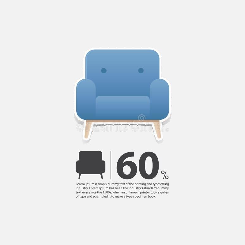 Кресло в плоском дизайне для интерьера живущей комнаты Минимальный значок для плаката продажи мебели белизна предпосылки кресла 3 иллюстрация вектора