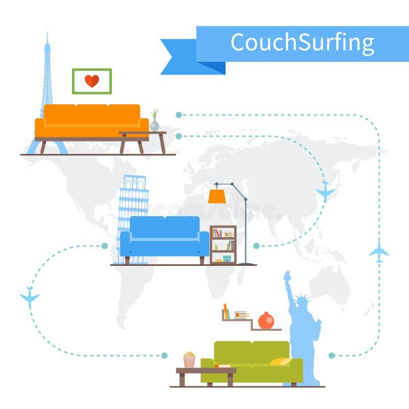Кресло занимаясь серфингом и деля концепция экономики вектор бесплатная иллюстрация