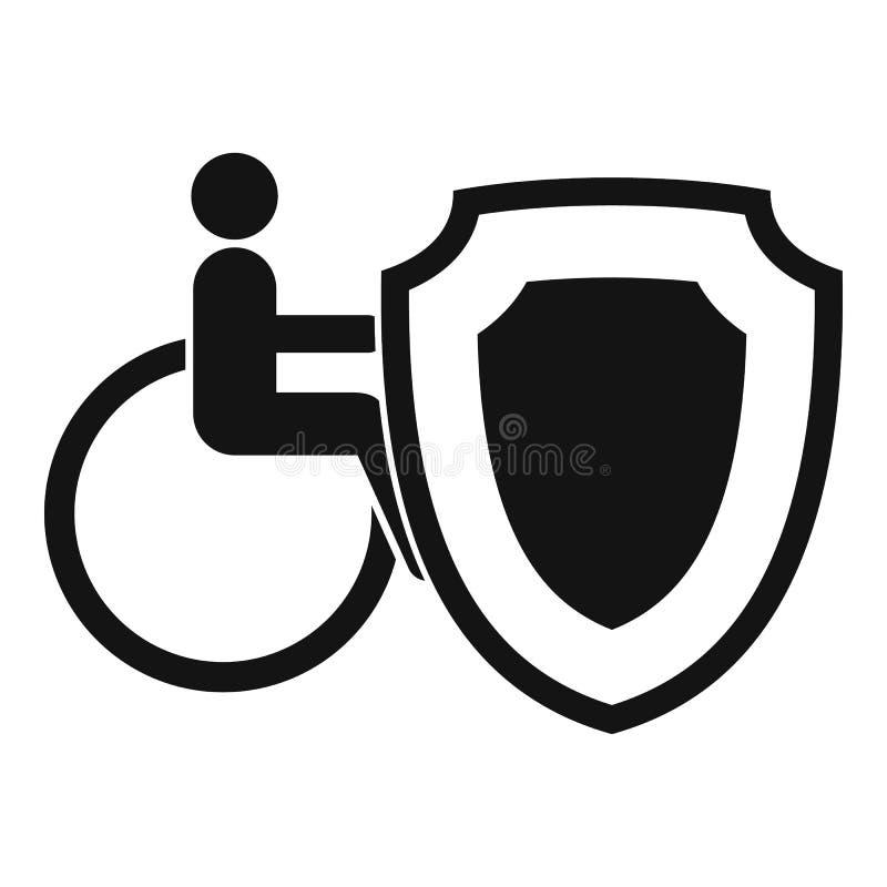 Кресло-коляска и безопасность защищают значок, простой стиль бесплатная иллюстрация