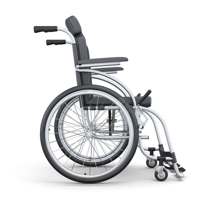Кресло-коляска на белой предпосылке Взгляд со стороны перевод 3d стоковое фото rf