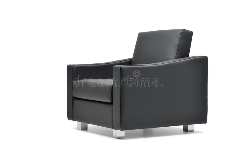 Кресло офиса в черной коже стоковое фото rf