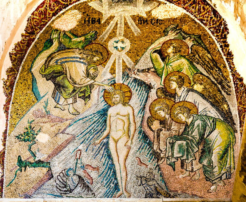 Крещение Иисуса в реке Иордан стоковые фото