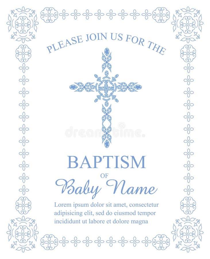 Крещение, крестить, первая общность, шаблон приглашения подтверждения с богато украшенным крестом и граница иллюстрация вектора