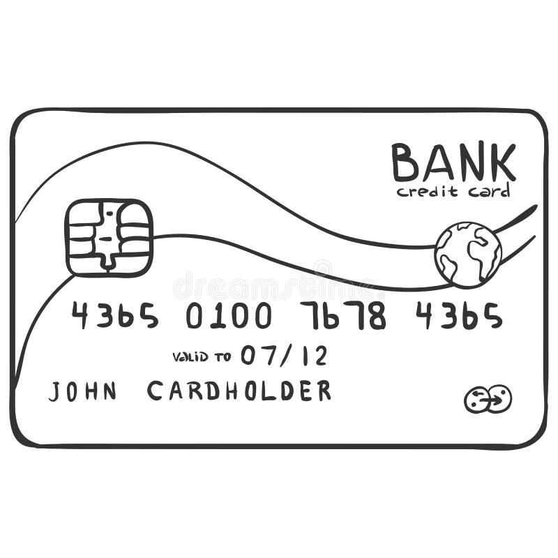 Кредитная карточка кредита в банке эскиза вектора одиночная бесплатная иллюстрация