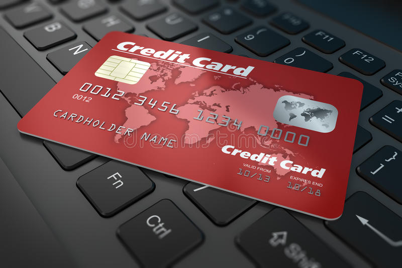 Кредитная карточка на клавиатуре иллюстрация вектора