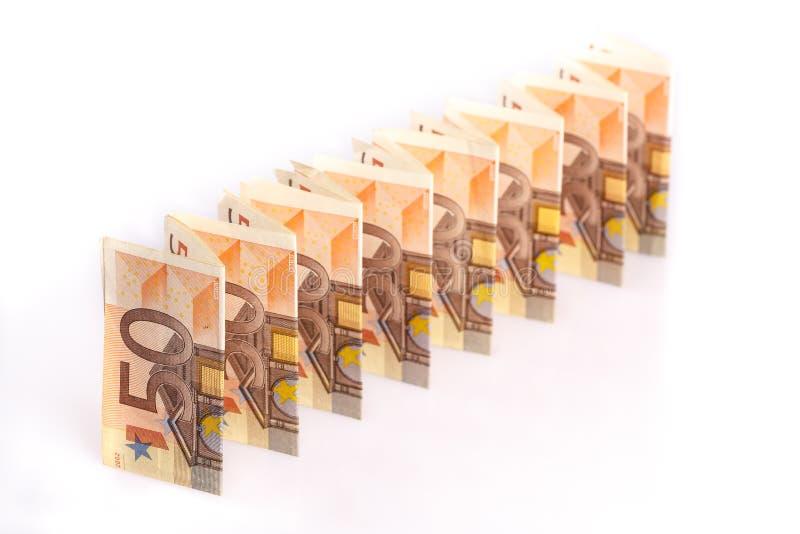 50 кредиток евро в линии стоковая фотография