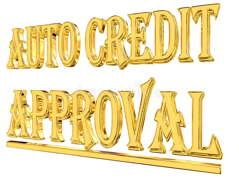 Кредит текста золота автоматический одобрил на белой предпосылке бесплатная иллюстрация