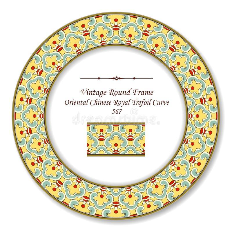 Кривая трилистника винтажной круглой ретро рамки восточная китайская королевская иллюстрация вектора