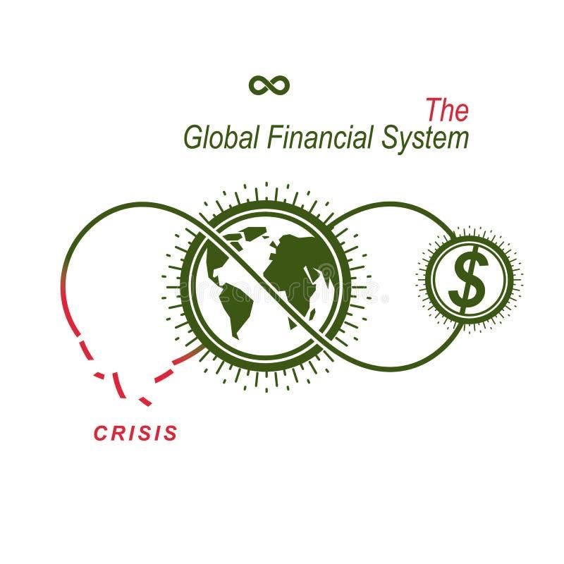 Кризис в логотипе глобальной финансовой системы схематическом, уникально ve иллюстрация вектора