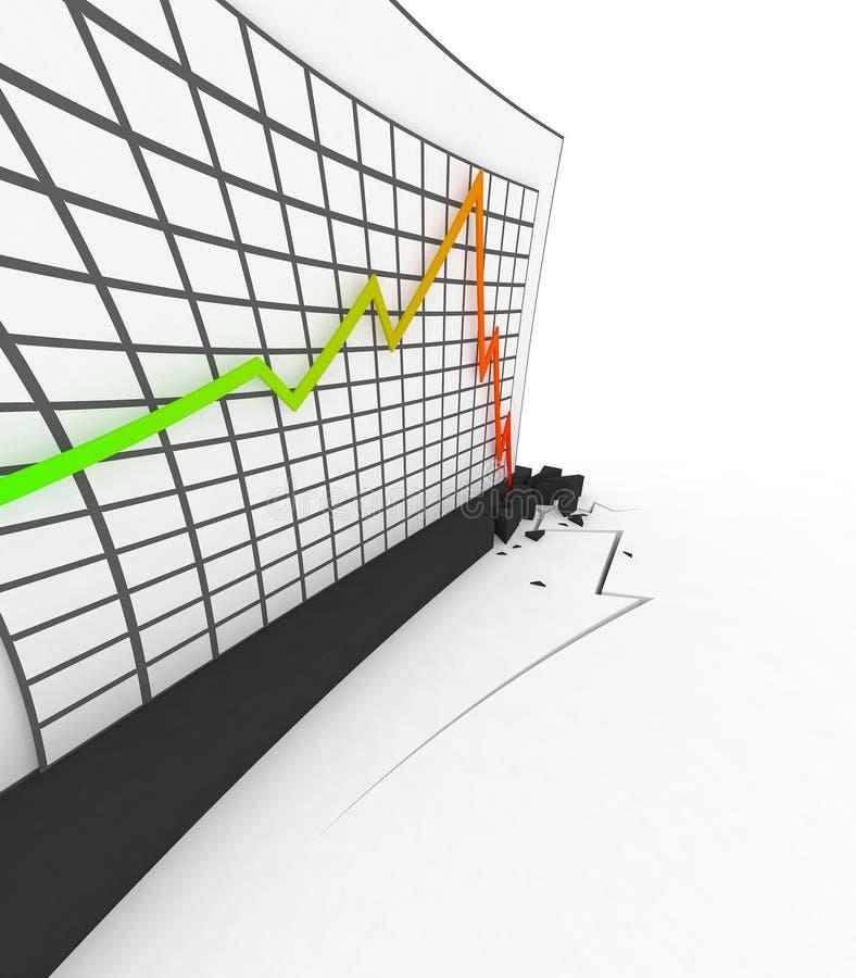 кризис диаграммы 3d иллюстрация штока