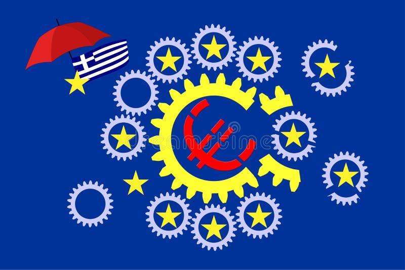 Кризис евро иллюстрация штока